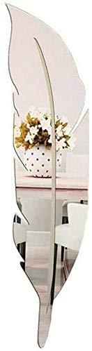 Specchio da parete con piume, in acrilico 3D, con piume, decorazione per la casa moderna, rimovibile, per soggiorno, camera da letto, bagno, ufficio, (argento: 30 x 120 cm)