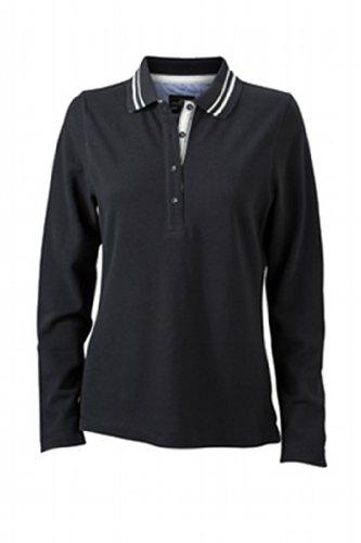 James & Nicholson Damen Poloshirt  Ladies\' Long-Sleeve X-Large black/off-white