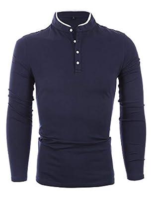 APTRO Herren Langarmshirt Poloshirt