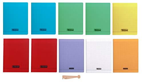 Lot de 10 cahiers 24x32 48 pages seyès couverture polypro grands carreaux avec 1 règle marque page en bois blumie