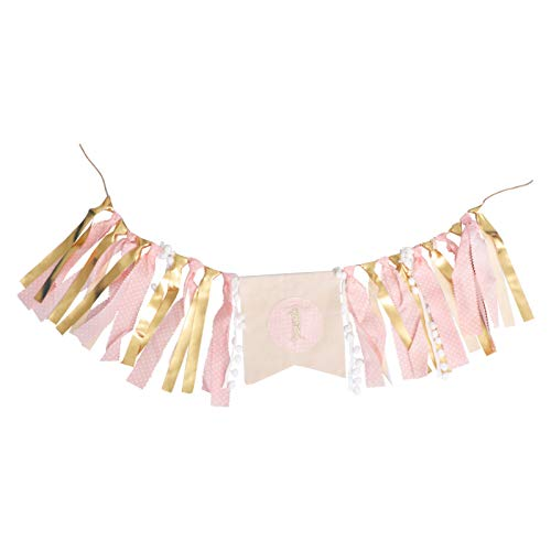 PRETYZOOM Gold Pink High Chair Bunting Banner First Birthday Banner Tutu Skirt Decoration Birthday Party Decorations for Photo Booth Props Birthday Party Supplies