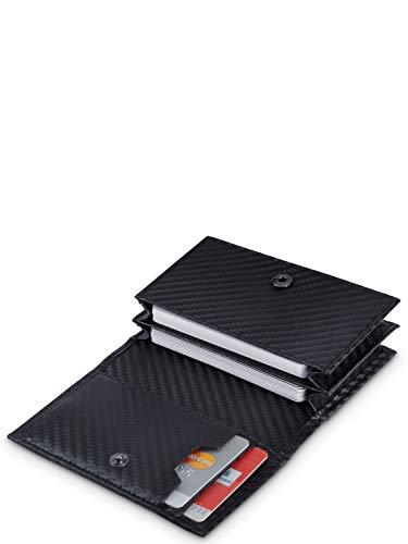 VON HEESEN® Visitenkartenetui in Carbon-Optik - TÜV geprüfter CRYPTALLOY® RFID-Schutz - Platz für 50 Visitenkarten - 6 Fächer - Visitenkarten Etuis - Geschenk für Damen & Herren (Carbon)