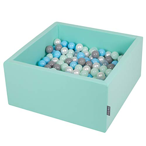 KiddyMoon 90X40cm/300 Balles ∅ 7Cm Carré Piscine À Balles pour Bébé Fabriqué en UE, Menthe : Perle/Gris/Transparent/Babyblue/Menthe