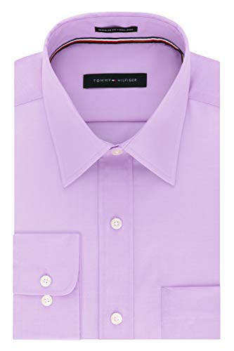 Tommy Hilfiger Men's Dress Shirt Regular Fit Non Iron Solid, Frosted Lilac, 17' Neck 34'-35' Sleeve (X-Large)