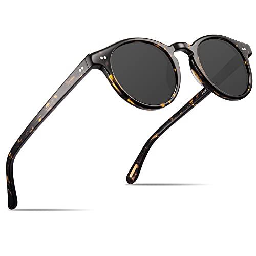 AVAWAY Occhiali da Sole Rotondi per Donna Polarizzati con Protezione UV400, Montatura in Acetato