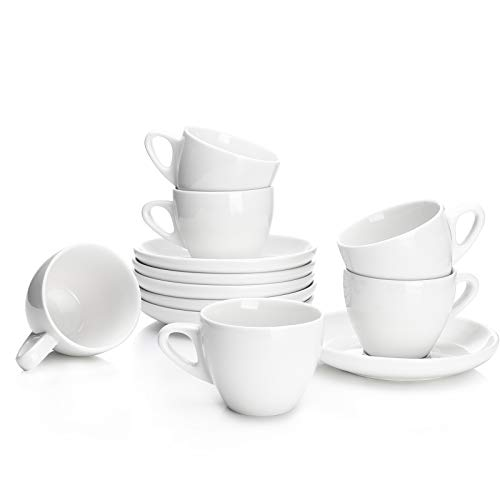 Sweese 402.001 Espresso Cups with Saucers, 4 Ounce Demitasse Cups, Perfect for Single or Double Espresso, Cappuccino, Latte and Tea - Set of 6, White