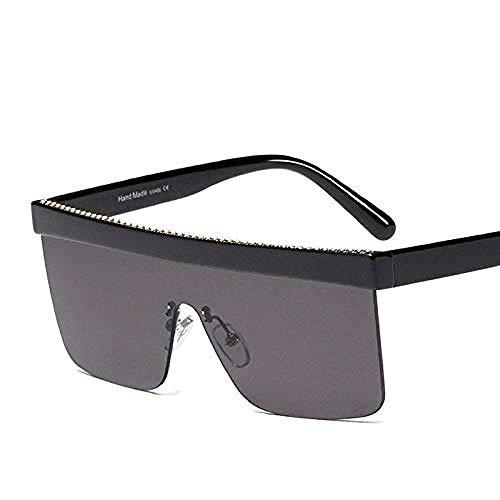 ZYIZEE Gafas de Sol Gafas de Sol cuadradas Vintage Mujer Cadena de Metal Moda Medio Marco Gafas de Sol Plateadas Uv400-D885_Black_Silver