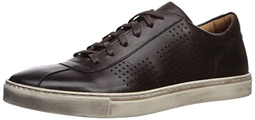 Brothers United Men's Leather Luxury Lace Up Perf Detail Sneaker, Brown Nappa/White Sole, 10.5 M US