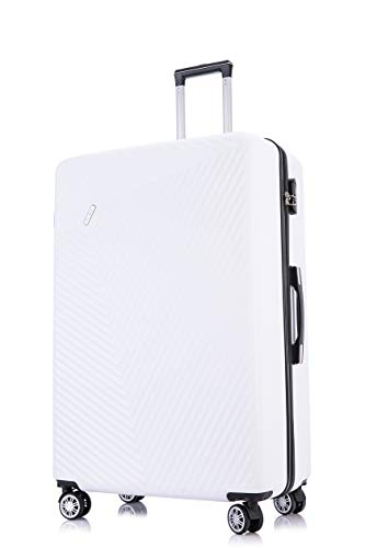 Flymax 29' Large Suitcases on 4 Wheels Lightweight Hard Shell Luggage Durable Check in Hold Luggage Built-in 3 Digit Combination White