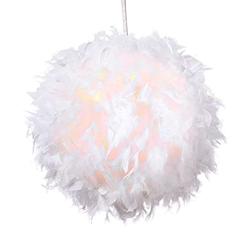 Feather Pendant Light Shade for Ceilings Fluffy Feather lampshade for Table & Floor Lamp, Bedroom, Living Room, Wedding or Party Decoration, Diameter 25cm, White