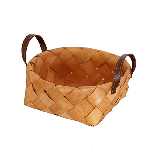 Creative Handmade Wooden Woven Baskets with Handle Vegetable Fruit Bread Food Storage Picnic Snack Container Kitchen Storage Bag Rectangular Basket Desktop Storage Basket 21cm*9.5cm (21cm*9.5cm)