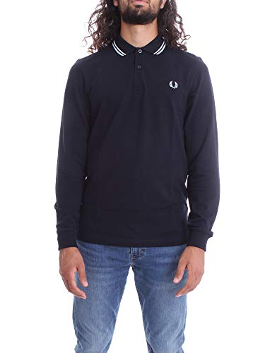 Fred Perry M3636 Maniche Lunghe Uomo Navy M