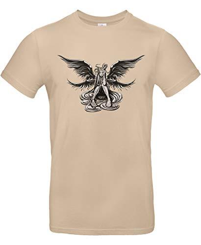 Smilo & Bron Herren T-Shirt mit Motiv Ambivalenz zwischen Engel und Teufel Bedruckt Braun Sand L