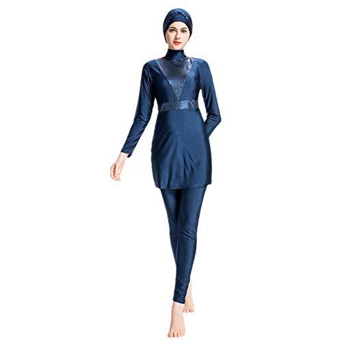 Muslimischen Damen Badeanzug Muslim Islamischen Full Cover Bescheidene Badebekleidung Modest Muslim Swimwear Beachwear Burkini (navyblue, Small)