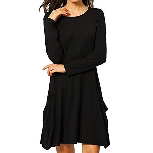 Damen Langarm Kleid Damen Swing T-Shirt Kleid Beiläufige Lose Taschen Einfacher Flowy Einfache Lose Tunika Über dem Knie Kleid Moonuy