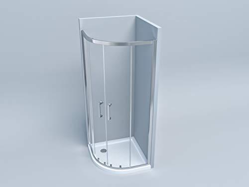 Box doccia cabina angolare tonda semicircolare in cristallo altezza 190 (80x80)