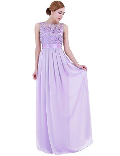 MSemis Women Chiffon Floor Length Sleeveless Long Bridesmaid Dresses Wedding Formal Evening Party Prom Gown Lavender 16