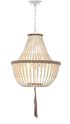 "Safavieh Collection Lush Kristi 3 Light 16.5"" Beaded Pendant, Cream"