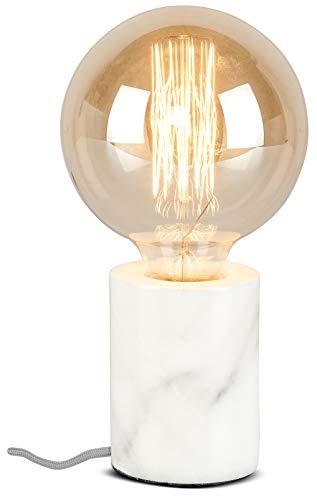 it's about RoMi ATHENS Tischlampe aus Marmor, moderne Tischleuchte für LED und Glühbirne, E27 Fassung, 40 Watt