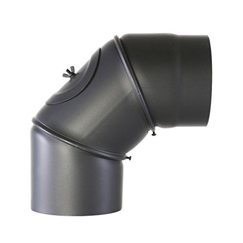 Kamino-Flam 331725 Bogen 90 Grad Senotherm 2 mm mit Tür 120 mm, gussgrau