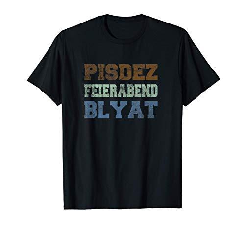 Herren Ost Block Spruch Pisdez Blyat Feierabend Bier Cyka Russen T-Shirt