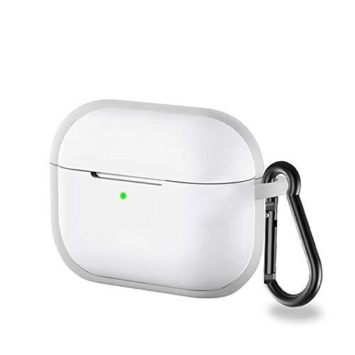 LICHIFIT Siliconen Skin Cover Beschermend Hoesje met Gesp voor Apple AirPods Pro Bluetooth Oortelefoon Accessoires Opladen Doos, Transparant Wit