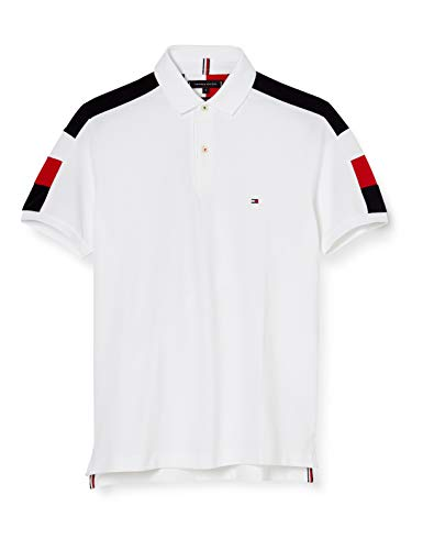 Tommy Hilfiger GS Sleeve Color Block Slim Polo Camisa, White, XXX-Large para Hombre