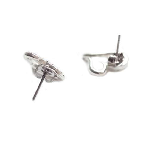 Flauli - Pendientes para mujer, diseño de corazón abierto, con diamantes de imitación, delicados, ligeros, para mujer, regalo para fiestas, bodas