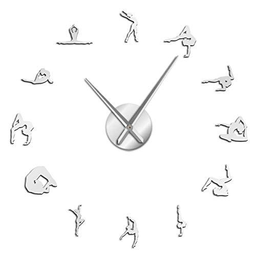 Reloj de pared Gimnasia Chicas silueta Acrílico Espejo adhesivo Diy Reloj de pared Amante del deporte Atleta Decoración del hogar Reloj de cuarzo Funciona con pilas Para la escuela de oficina en casa