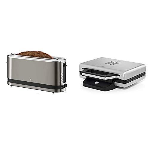 WMF Küchenminis Toaster Langschlitz mit Brötchenaufsatz, 2 Scheiben, XXL, 7 Bräunungsstufen, 900W, Toaster edelstahl matt & Lono Sandwich Maker, Sandwichtoaster, für 2 Standard- oder XXL-Toasts