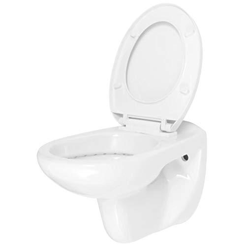 vidaXL Wand WC Absenkautomatik Softclose Sitz Keramik Weiß Wand Hänge Toilette