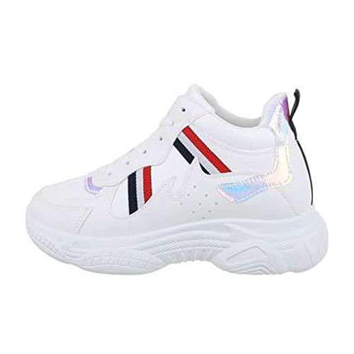 Zapatillas deportivas para mujer, color azul, blanco y rojo, Blanco (blanco), 40 EU