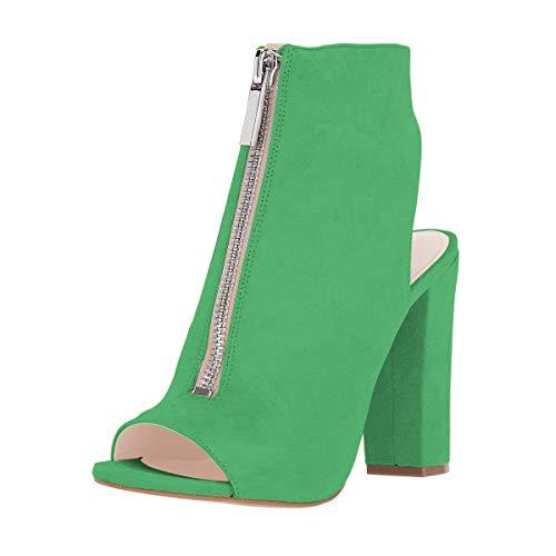 FSJ Women Peep Toe Ankle Boots Slingback Chunky High Heels Faux Suede Zipper Sandals Size 9.5 Lime Green