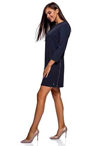 oodji Ultra Damen Gerades Kleid mit Zierreßverschlüssen an den Seiten, Blau, DE 38 / EU 40 / M