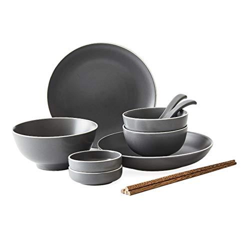 DNAN Estilo japones Cuberteria Vajilla de cerámica Gris Retro Tazón de Sopa Grande/tazón de arroz/Plato/Cuchara/Palillos para 2/4/8 Personas (tamaño : 11pieces)