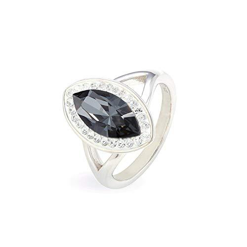 LA SENJA Anillo de marquesa hecho a mano, anillo de cristal negro, anillo de plata de ley 925, hecho a mano