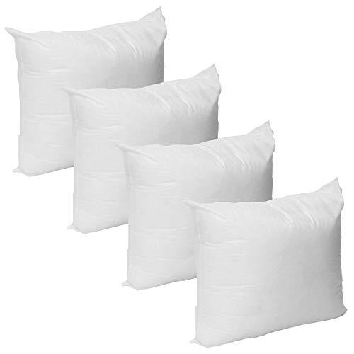 Mybecca Set of 4 - Premium Handmade Hypoallergenic Hollowfibre 18'' x 18'' Cushion Inners Pack of 4 Sham Stuffer Square Pillow Insert Polyester Stuffer Pillow, Standard/White
