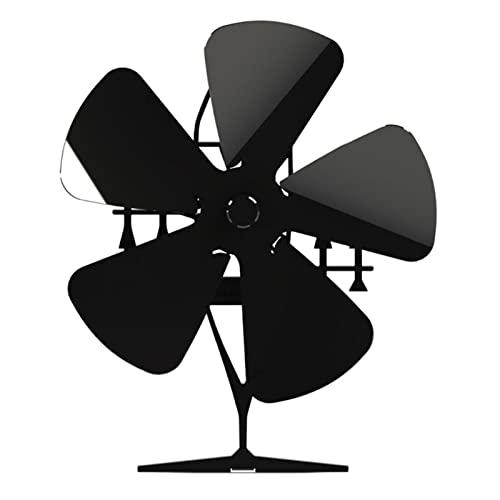 GXXDM Fábrica de Fans de Chimenea Ventilador de aleación de Aluminio de 5 Cuchillas Alimentador de aleación de Aluminio Eco Friendly Fan para Estufas de Bala o Estufas de leña,Negro,One Size