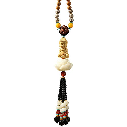 JNKET Car Pendant Hand-Made Boxwood Buddha Carving Lotus Pedestal Pendant Decoration Sculpture Lotus Flower Hanging Dangle Ornament Car Accessories (Style 3)