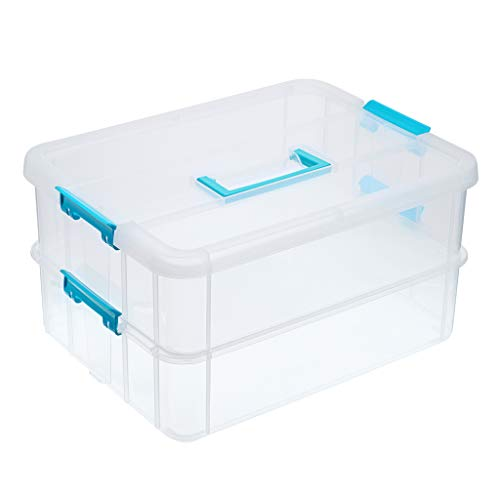 BTSKY 2 Layer Stack & Carry Box, Plastic Multipurpose Portable Storage Container Box Handled Organizer Storage Box for Organizing Stationery, Sewing, Art Craft, Jewelry and Beauty Supplies Blue