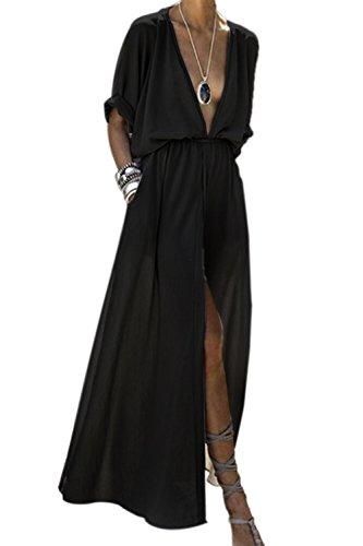 Zamtapary Partykleider für Damen Sommer Tief geschnitten Schlitz Strandkleid Maxi Kleider schwarz S