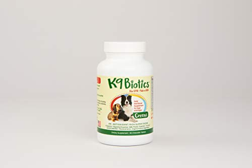 K9Biotics Greens Daily Nutritional Supplement for Dogs Antioxidant Probiotics Digestive Enzymes, Chewables 65 Count