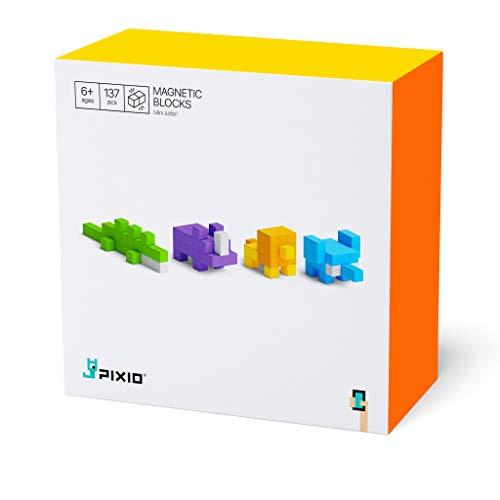 Mini Safari - 137 Magnetische Bausteine Bauklötze | ab 6 Jahren | Magnet Spielzeug Kinder Pixel Konstruktionsbausteine Magnetspiel