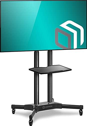 """ONKRON TV Ständer Standfuss 40\""""-65\"""" Zoll für die meisten TVs VESA 200x200-600x400 mm höhenverstellbar rollbar TS1351 Schwarz"""