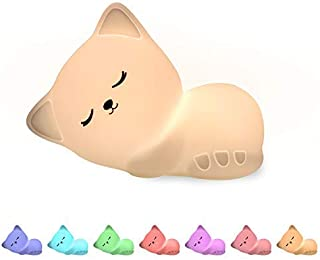 Kids Cat Night Lights, Cute Lamp Silicone Baby Night Light,Color Changing Led Nightlight with Touch Sensor, for Kids, Chil...