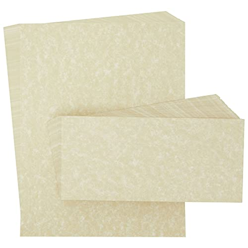 Vintage Stationery Paper and Envelopes Set, Luxury Parchment Printer Paper for Invitations, Corporate Letters (8.5 x 11 In, 48 Pack)