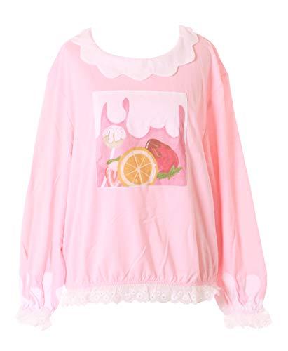 TS-196 roze siroop aardbei oranje ruches pastel Goth Lolita lange mouwen shirt Harajuku Kawaii