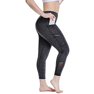 YOHOYOHA Plus Size Workout Mesh Leggings Pockets High Waist Athletic Yoga Pants Women's Tummy Control Best Long, Black Marl, XX-Large