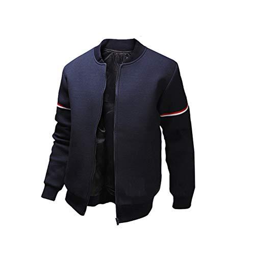 Eveliyning Men Spring Autumn Simple Standing Collar Girocollo a Tinta Unita Color Carne Size M (Navy)