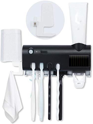 Tandenborstel sterilisator, aan de muur gemonteerde oplaadbare tandenborstel houder met automatische tandpasta dispenser, zwart en wit twee kleuren, wit, kleur: wit (Color : Black)